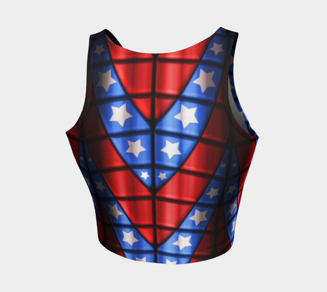 Superheroes - Red, Blue, White Stars Crop Top preview #2