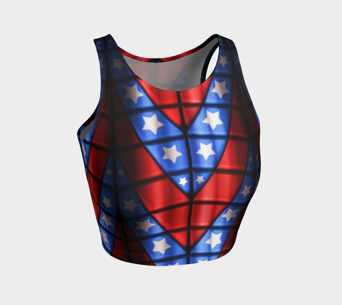 Superheroes - Red, Blue, White Stars Crop Top preview #1