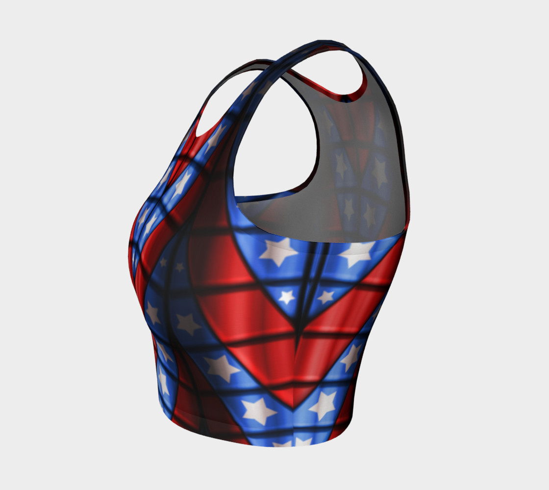 Superheroes - Red, Blue, White Stars Crop Top preview #3
