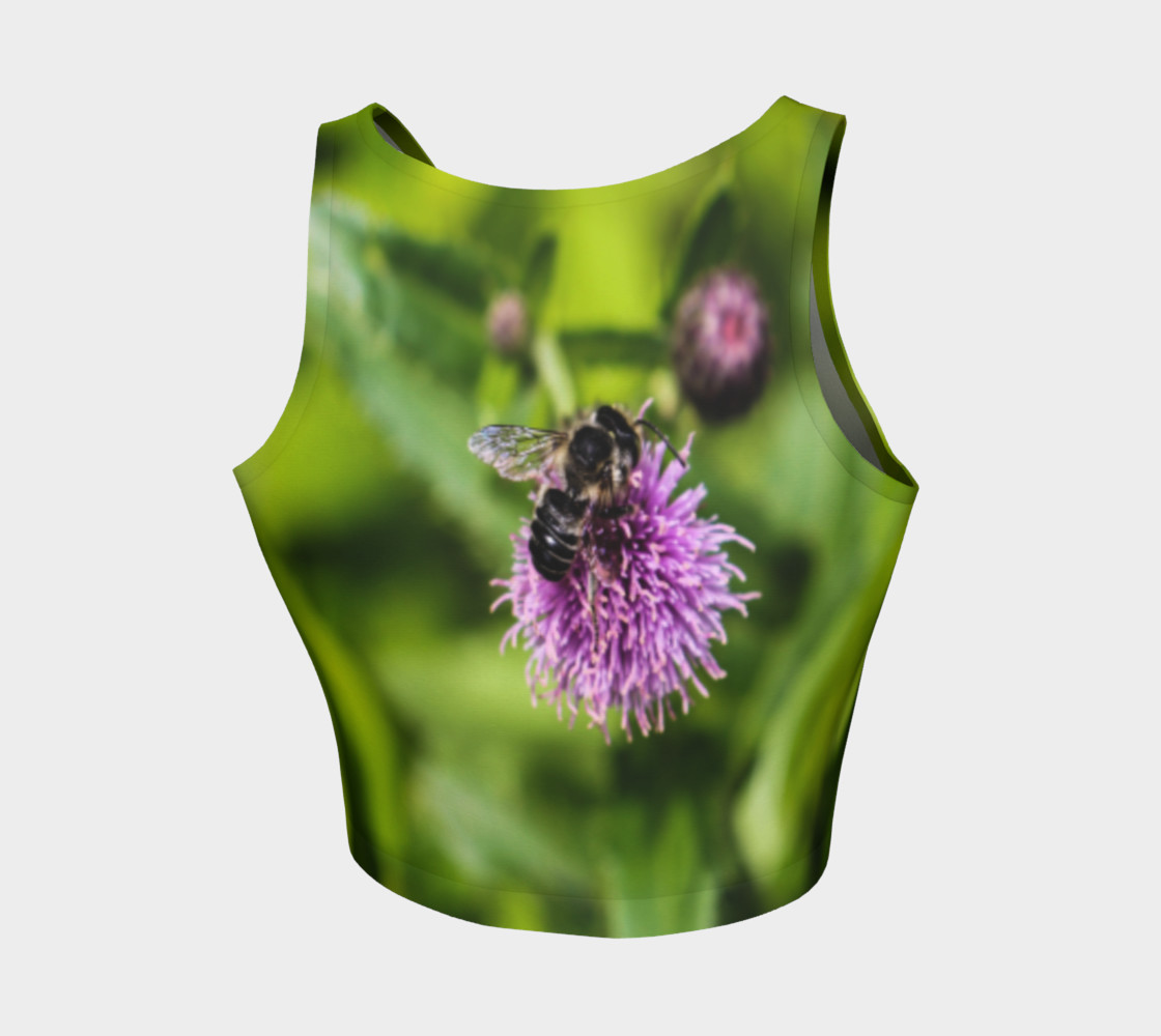 A Bee on a Purple Flower Athletic Crop Top preview #2