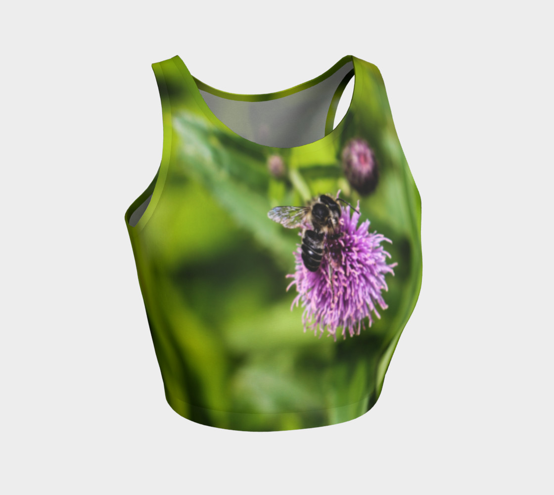 A Bee on a Purple Flower Athletic Crop Top preview #1
