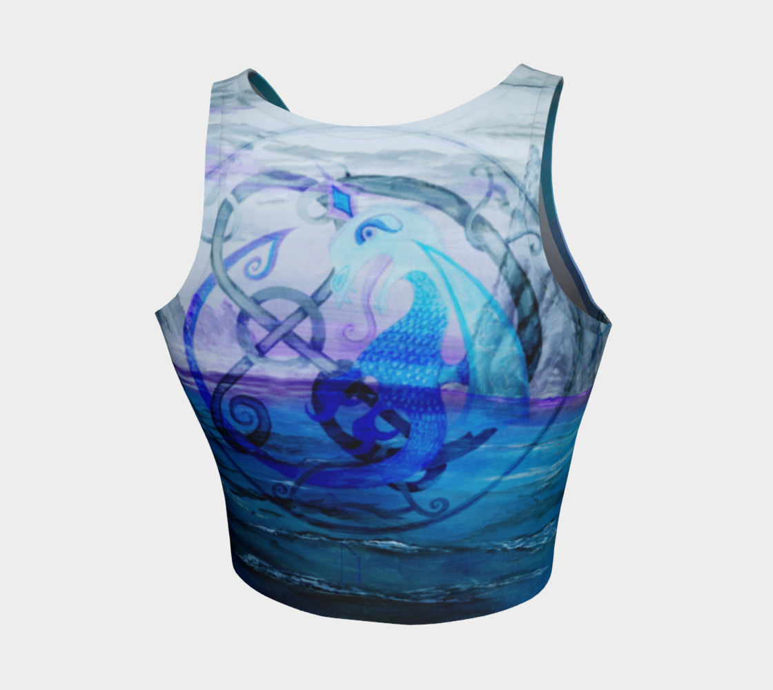 Blue Viking Dragon Athletic Crop Top preview #2