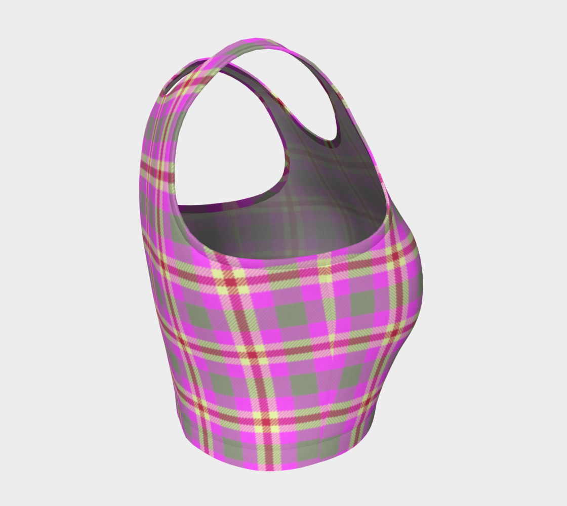 Pink Plaid Athletic Crop Top preview #4