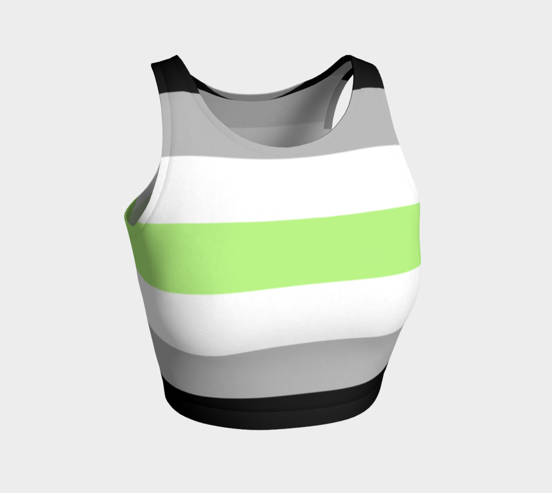 Age Stripes Athletic Crop Top black grey white green preview #1