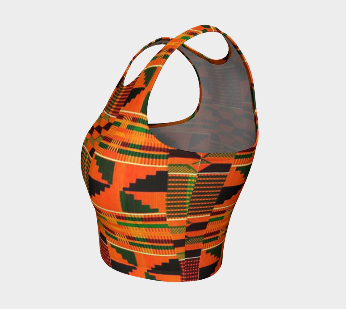 orange kente crop top preview #3
