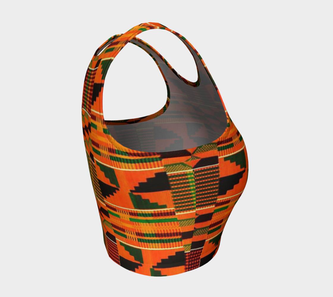 orange kente crop top preview #4