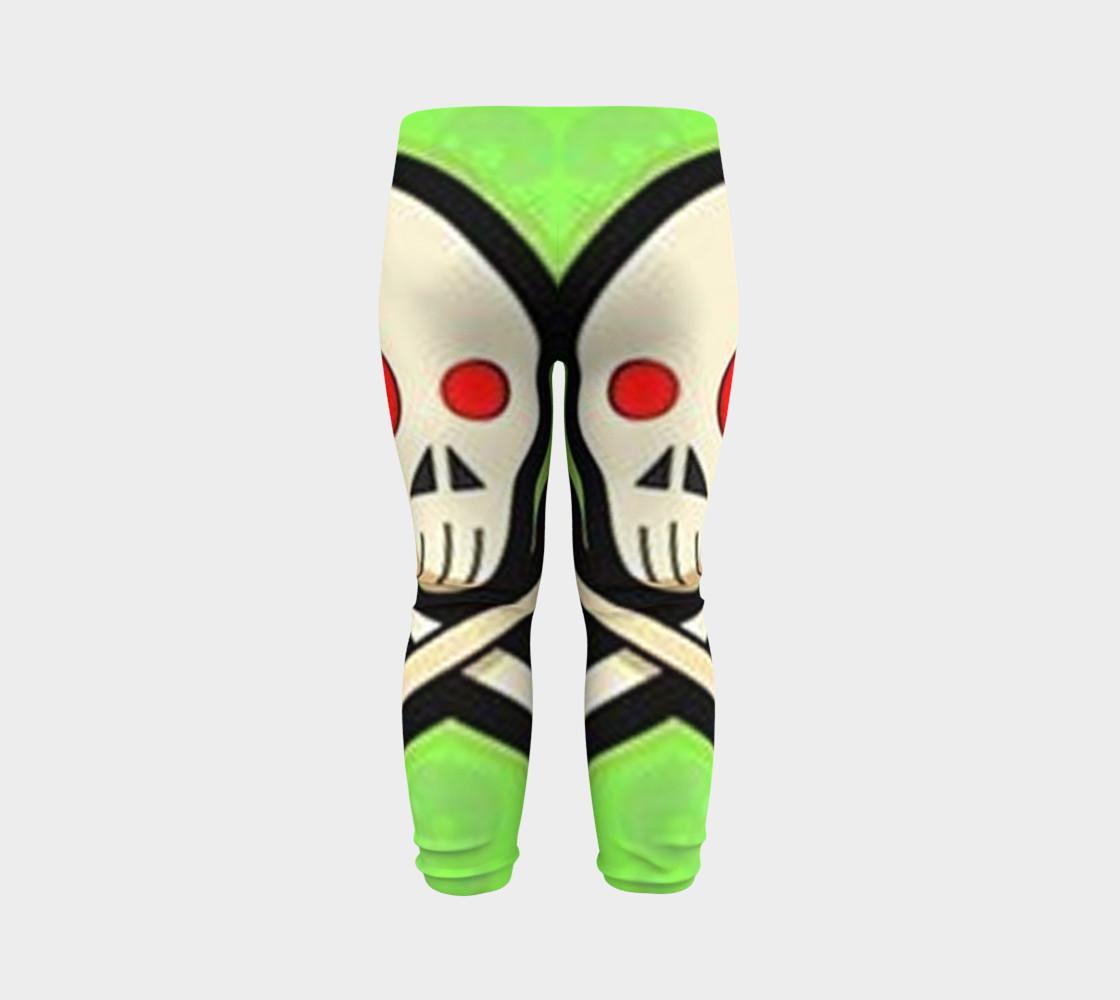 Cartoon Skull On Green Baby Leggings preview #7