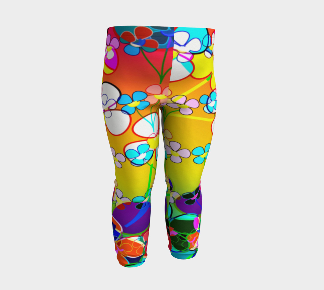Abstract Colorful Flower Art Yellow Background Baby Leggings Baby Leggings By Sandyspider Designs Shop Art Of Where