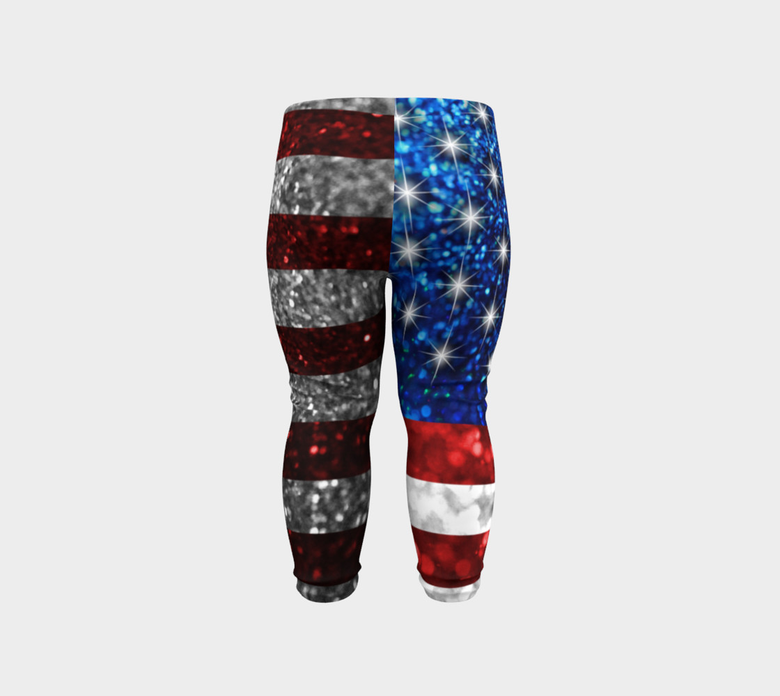 American Flag in Glitter Baby Leggings preview #6