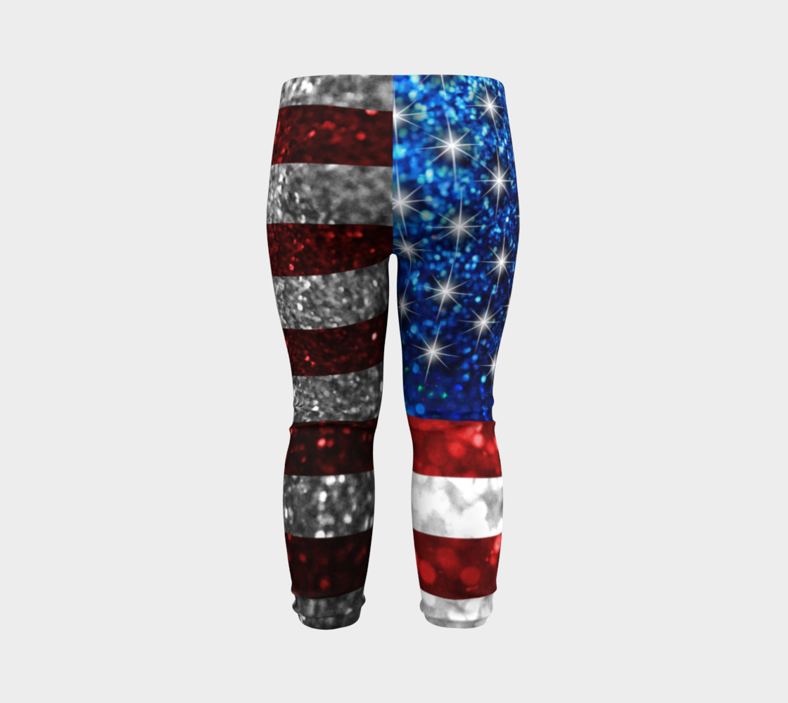 American Flag in Glitter Baby Leggings preview #7