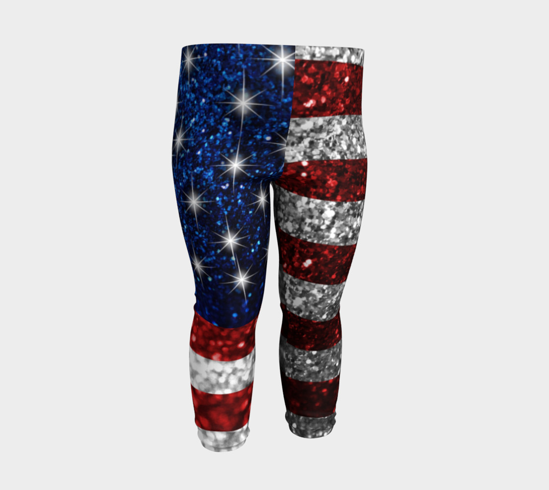 American Flag in Glitter Baby Leggings preview #3
