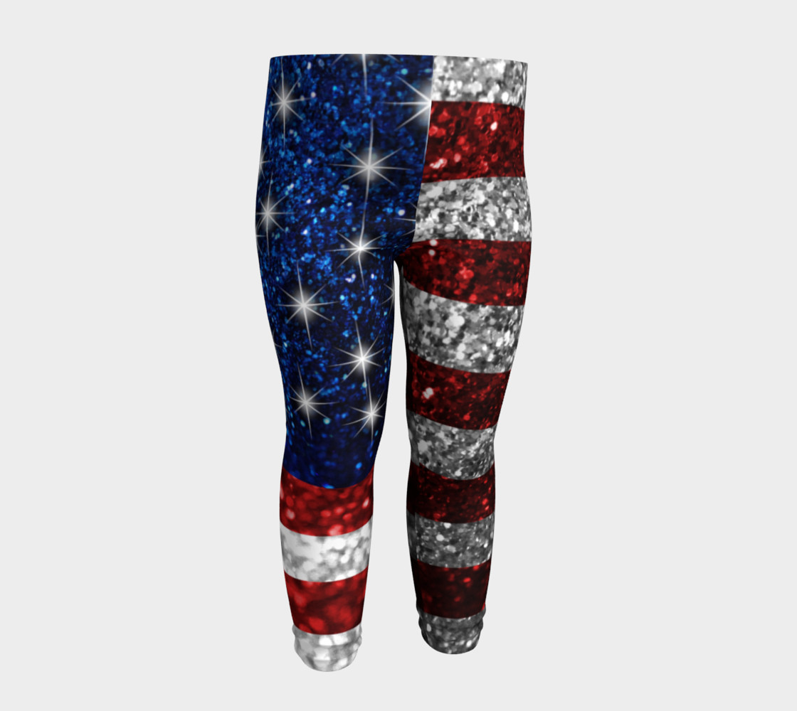 American Flag in Glitter Baby Leggings preview #4
