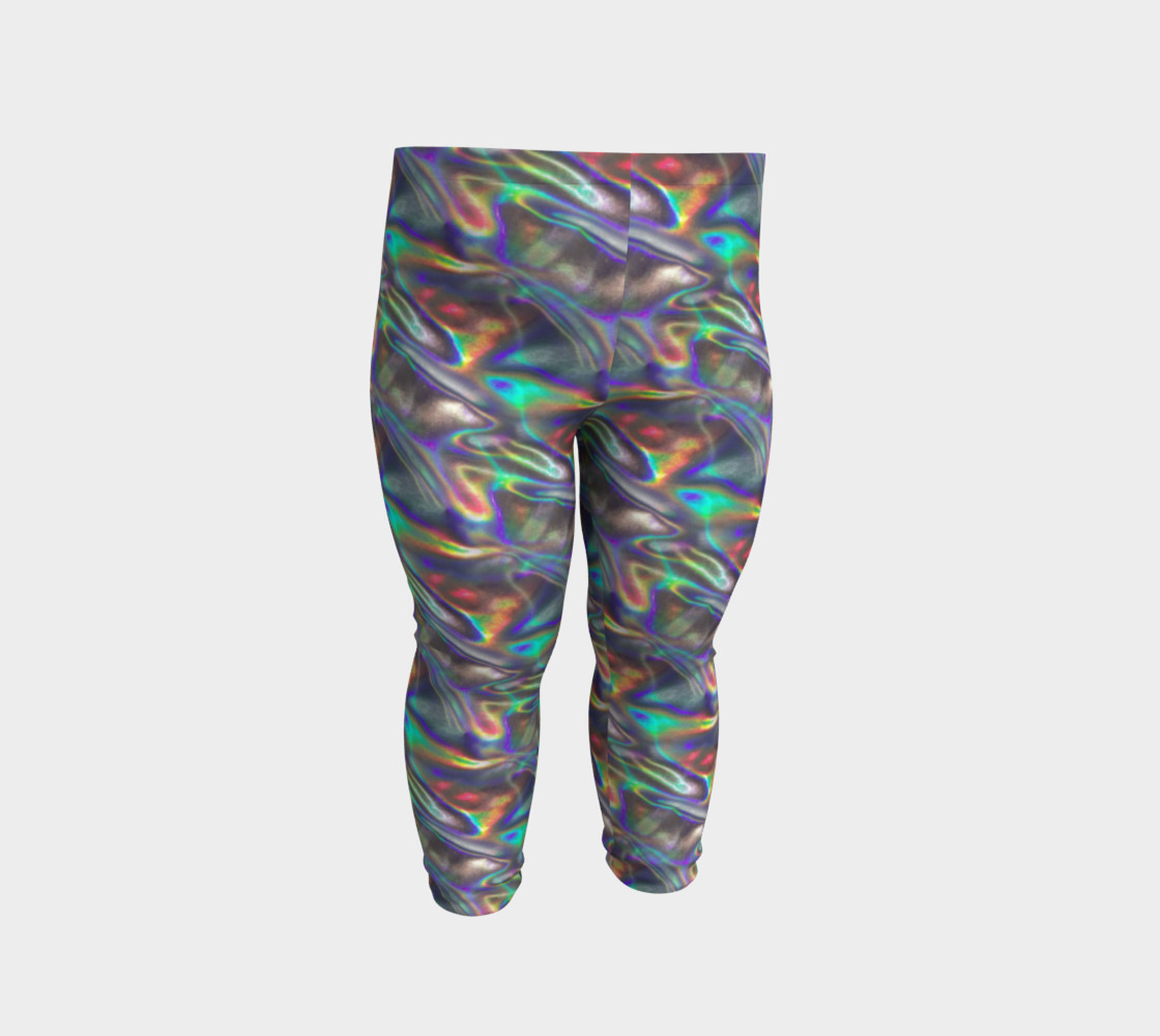 holographic silver metallic baby leggings Miniature #3