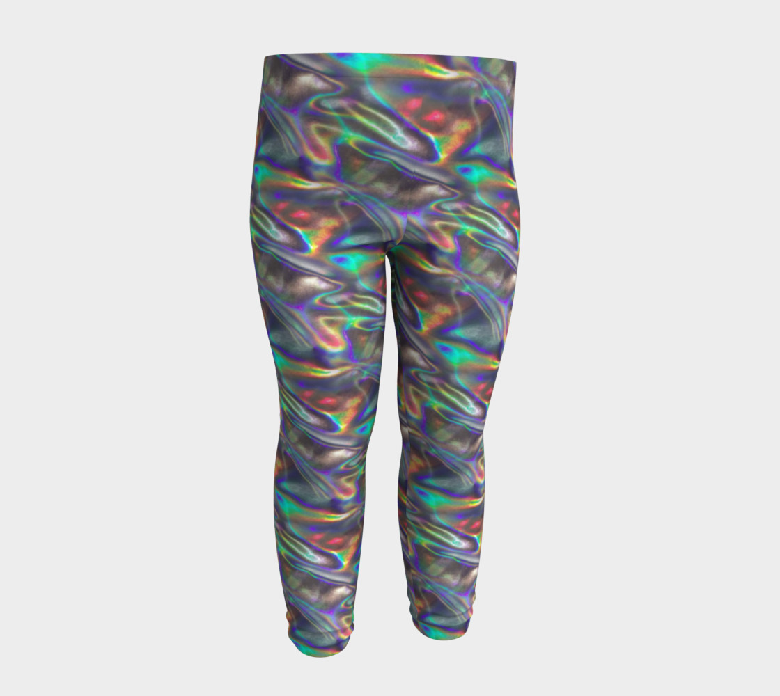 holographic silver metallic baby leggings Miniature #5