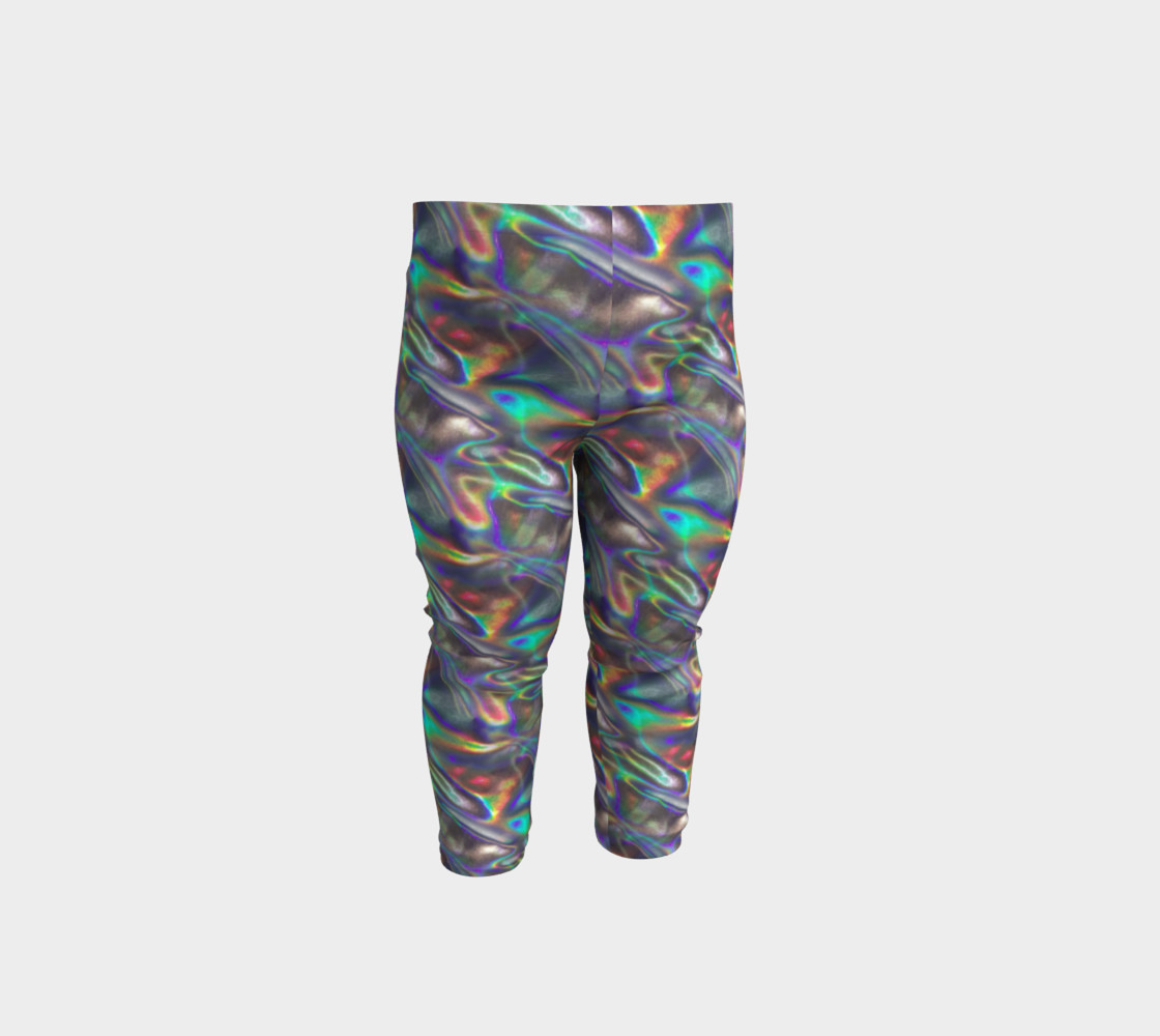 holographic silver metallic baby leggings Miniature #2