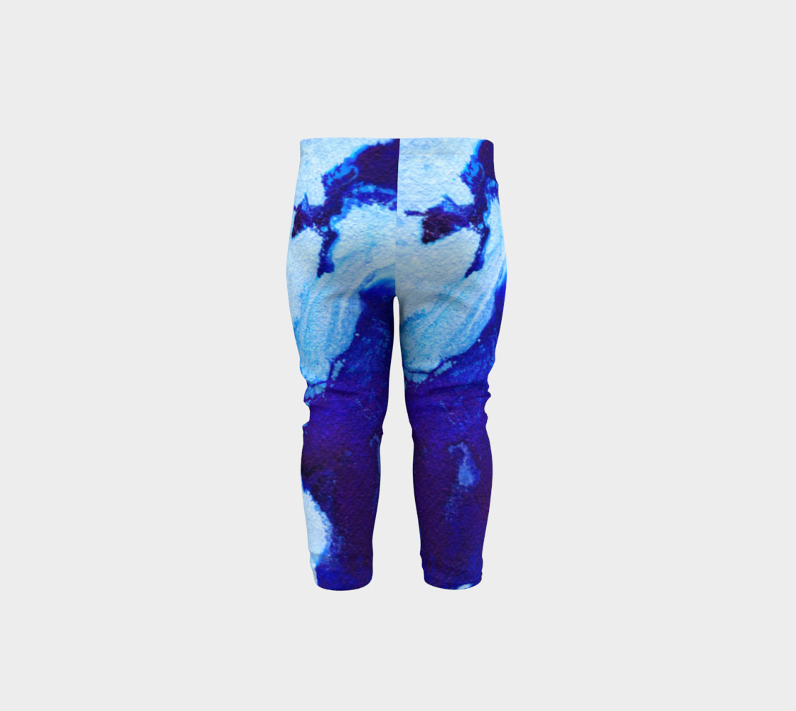 Navy Blue Marble Abstract Swirl - Baby Leggings preview #5