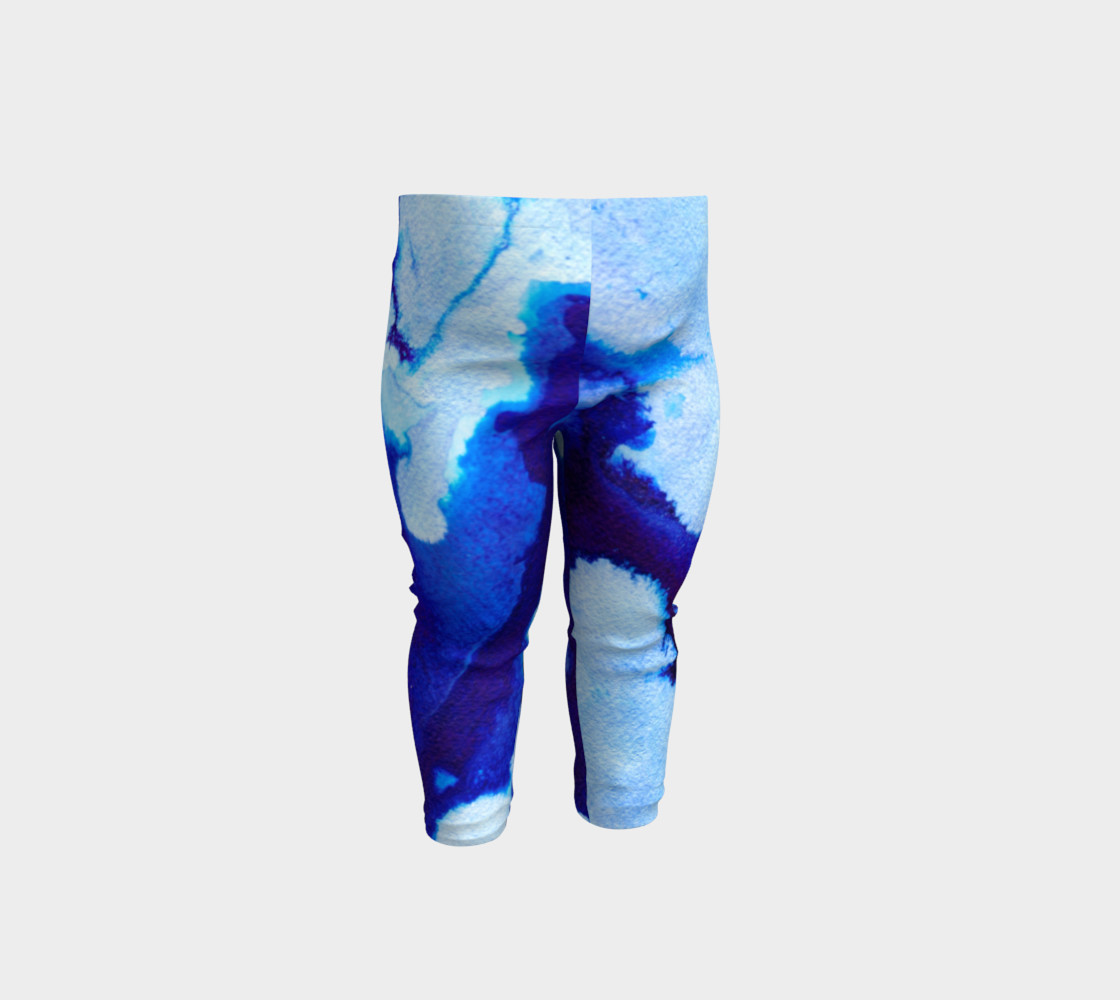 Navy Blue Marble Abstract Swirl - Baby Leggings preview #1