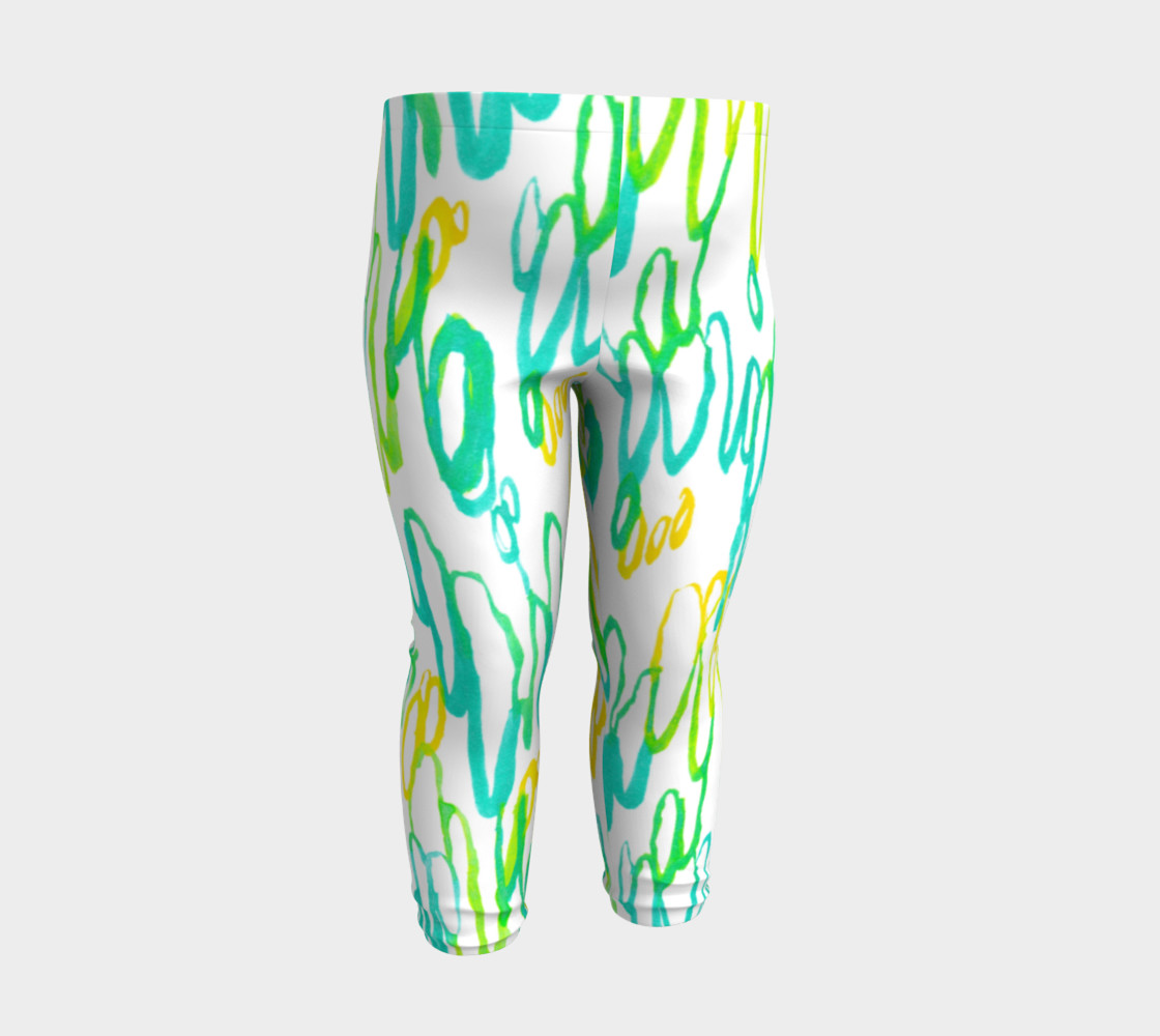 Aqua Green Teal Abstract Pattern - Baby Leggings preview #3