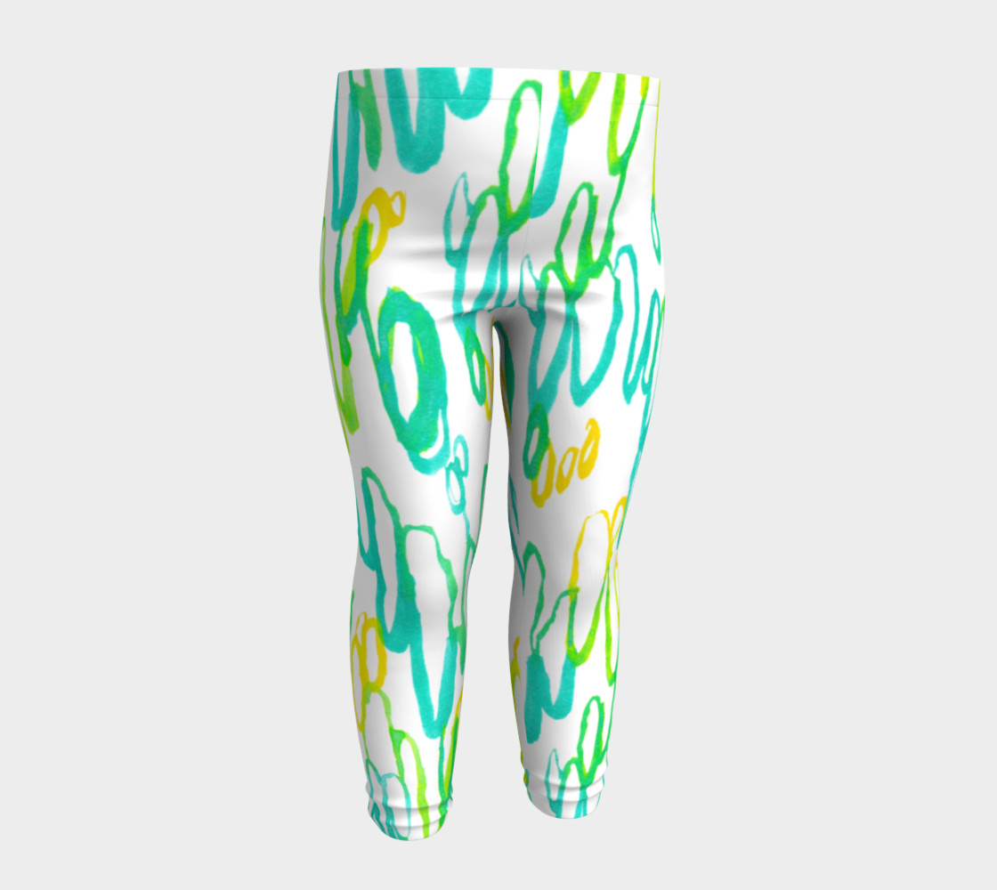 Aqua Green Teal Abstract Pattern - Baby Leggings preview #4