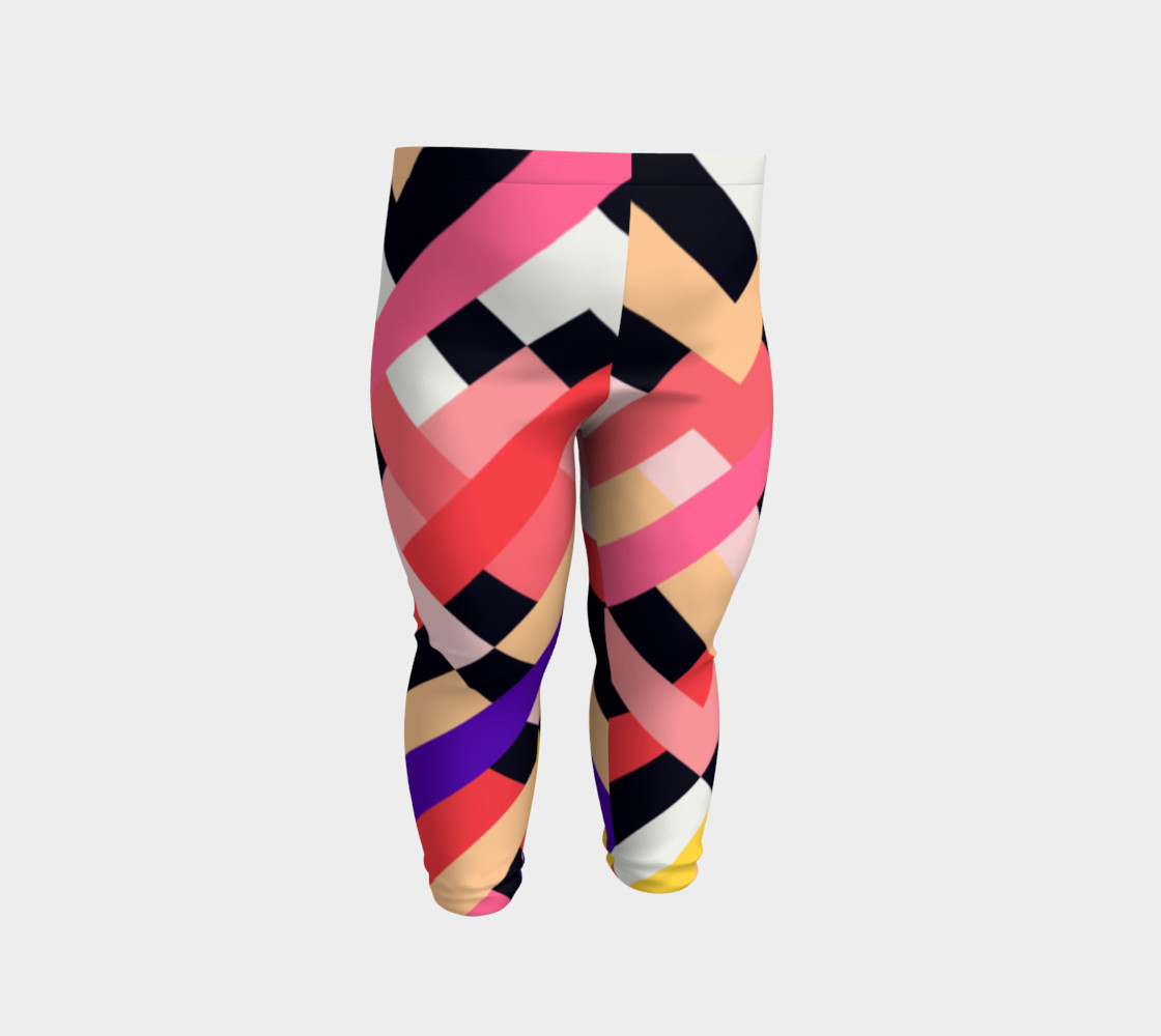 Pink Black Abstract Stripes Pattern - Baby Leggings preview #2