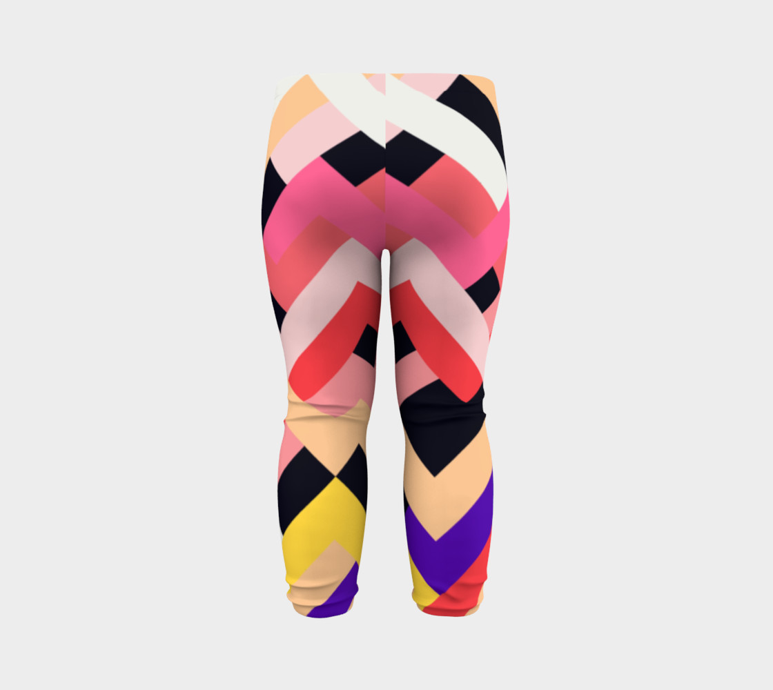 Pink Black Abstract Stripes Pattern - Baby Leggings preview #7