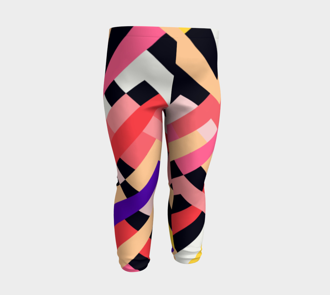 Pink Black Abstract Stripes Pattern - Baby Leggings preview #3