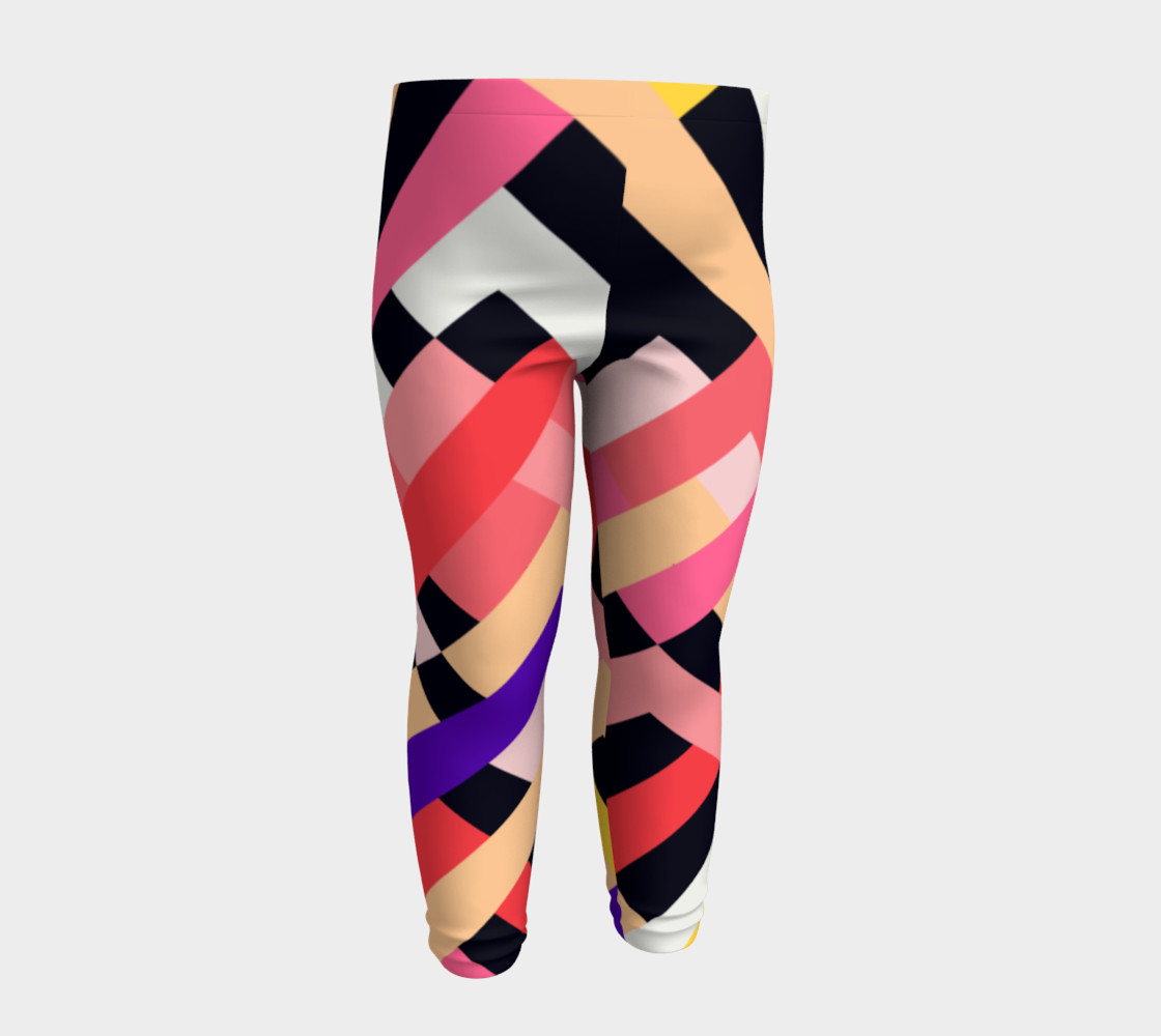 Pink Black Abstract Stripes Pattern - Baby Leggings preview #4