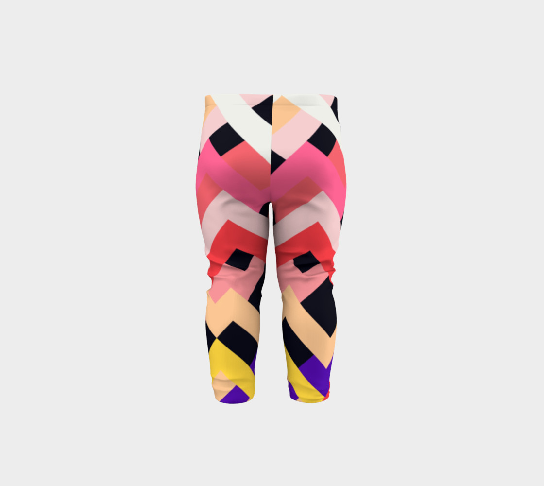 Pink Black Abstract Stripes Pattern - Baby Leggings preview #5