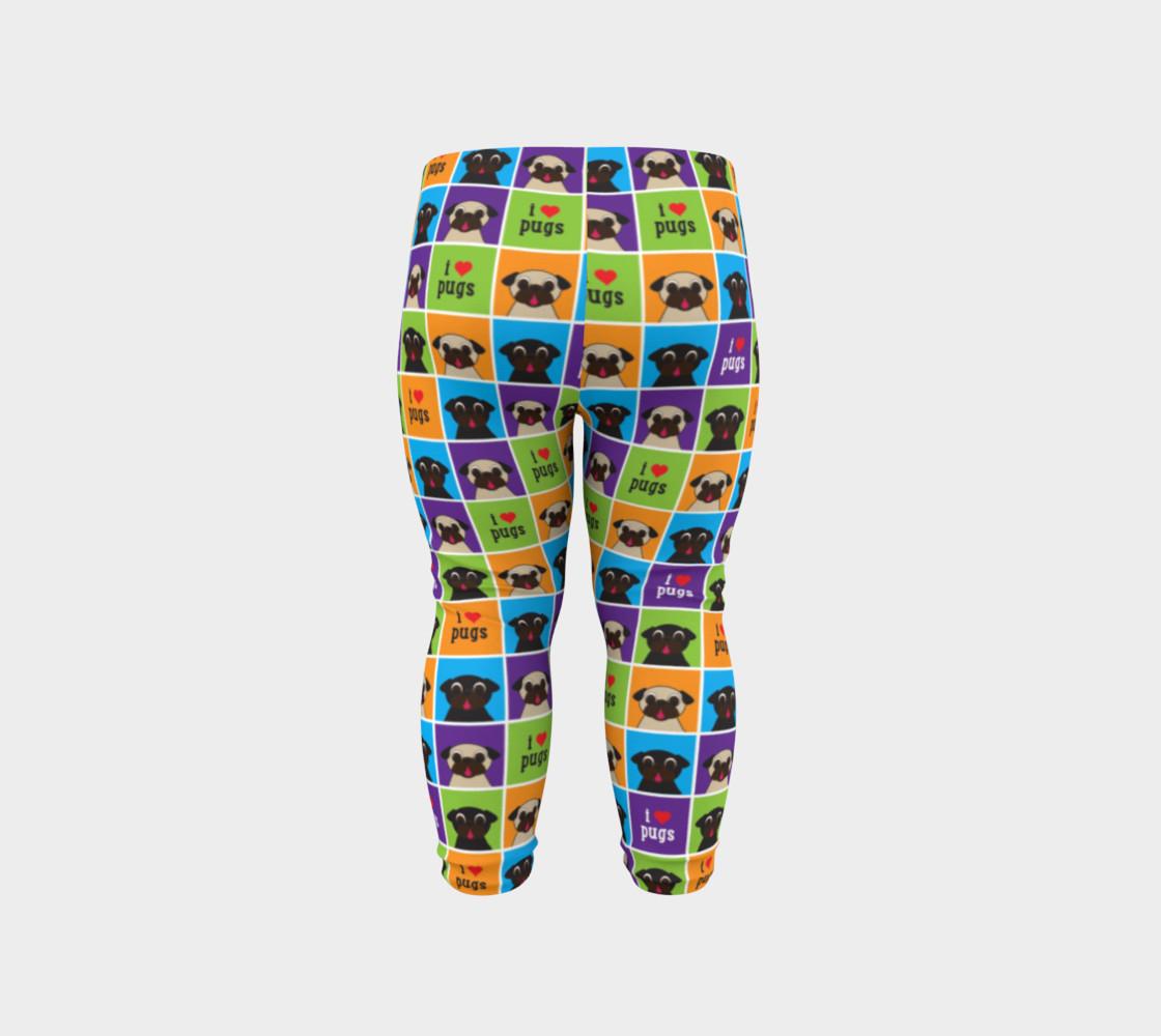 Aperçu de I Love Pugs Color Squares Baby Leggings #6
