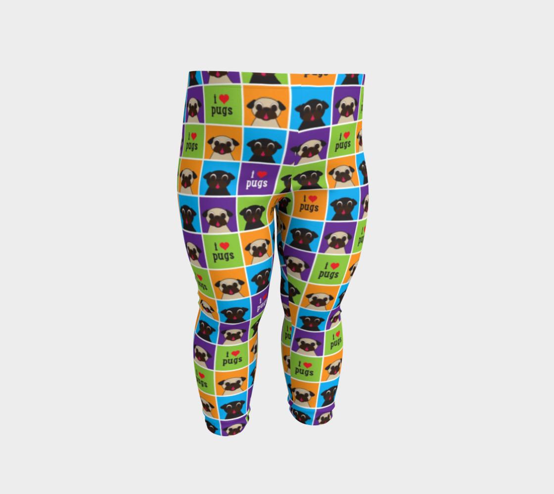 Aperçu de I Love Pugs Color Squares Baby Leggings #2