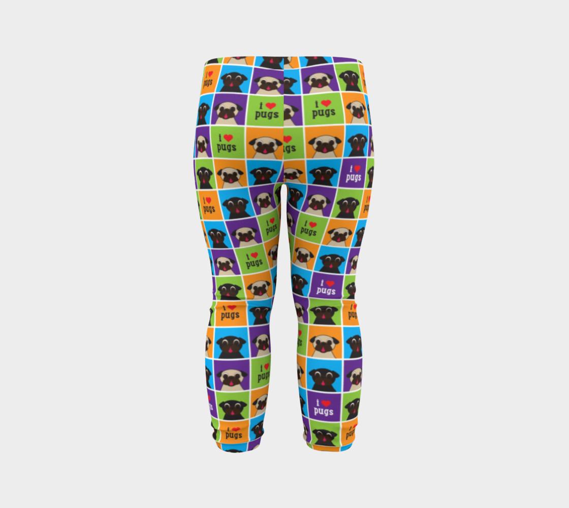 Aperçu de I Love Pugs Color Squares Baby Leggings #7
