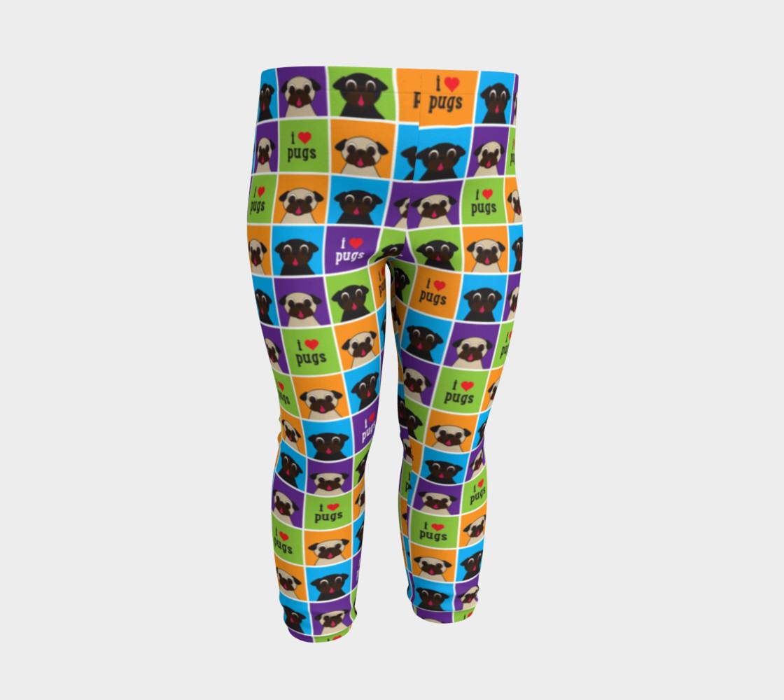 Aperçu de I Love Pugs Color Squares Baby Leggings #3