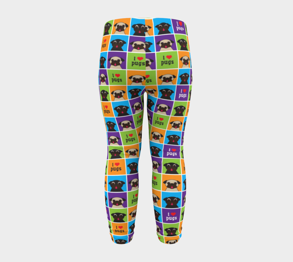 Aperçu de I Love Pugs Color Squares Baby Leggings #8