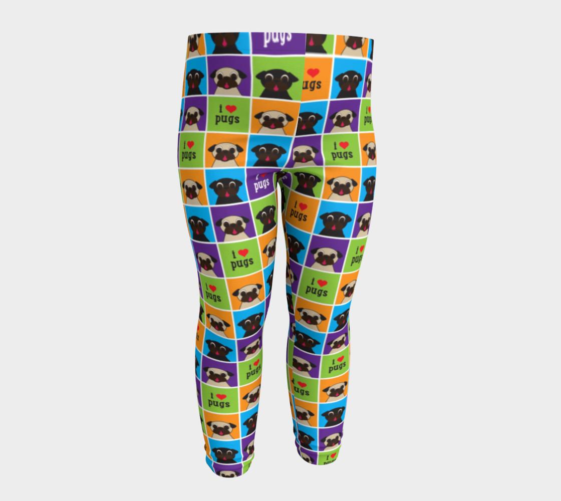 Aperçu de I Love Pugs Color Squares Baby Leggings #4