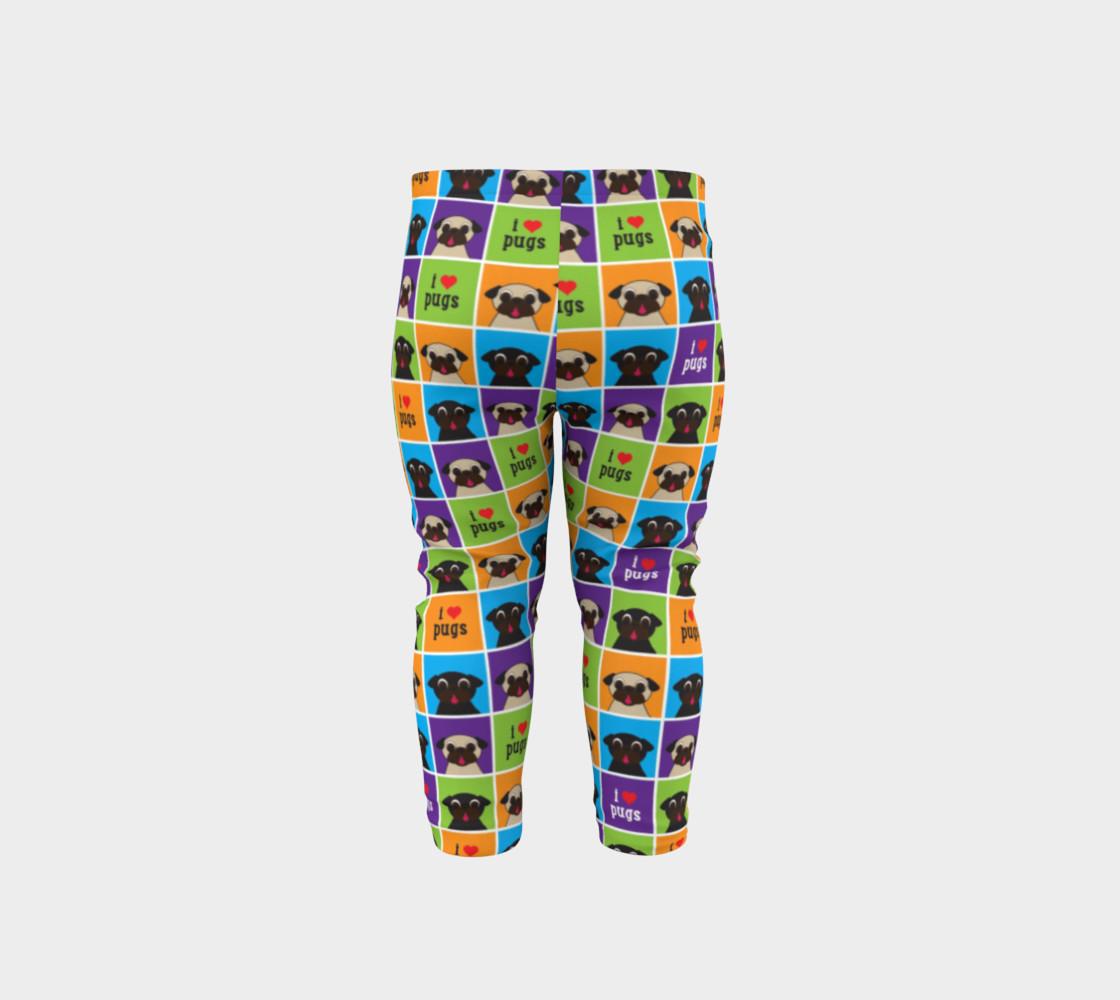 Aperçu de I Love Pugs Color Squares Baby Leggings #5