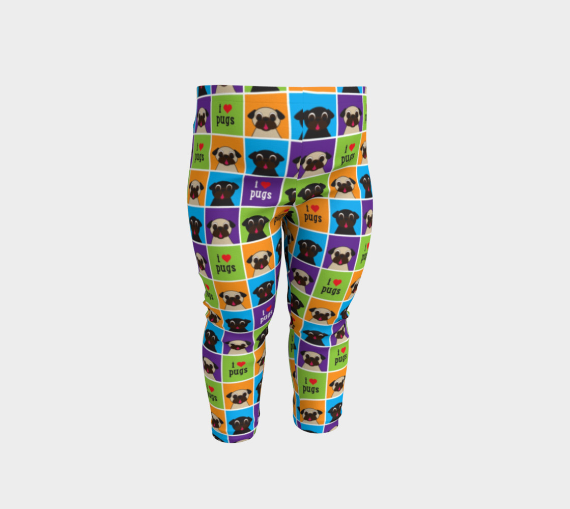 Aperçu de I Love Pugs Color Squares Baby Leggings #1