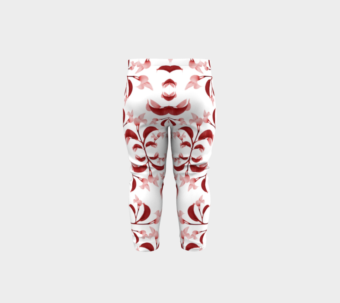 Floral Print in Red and White Baby Leggings preview #5