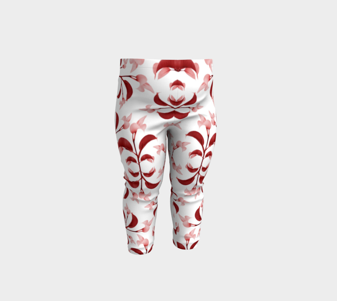 Floral Print in Red and White Baby Leggings preview #1