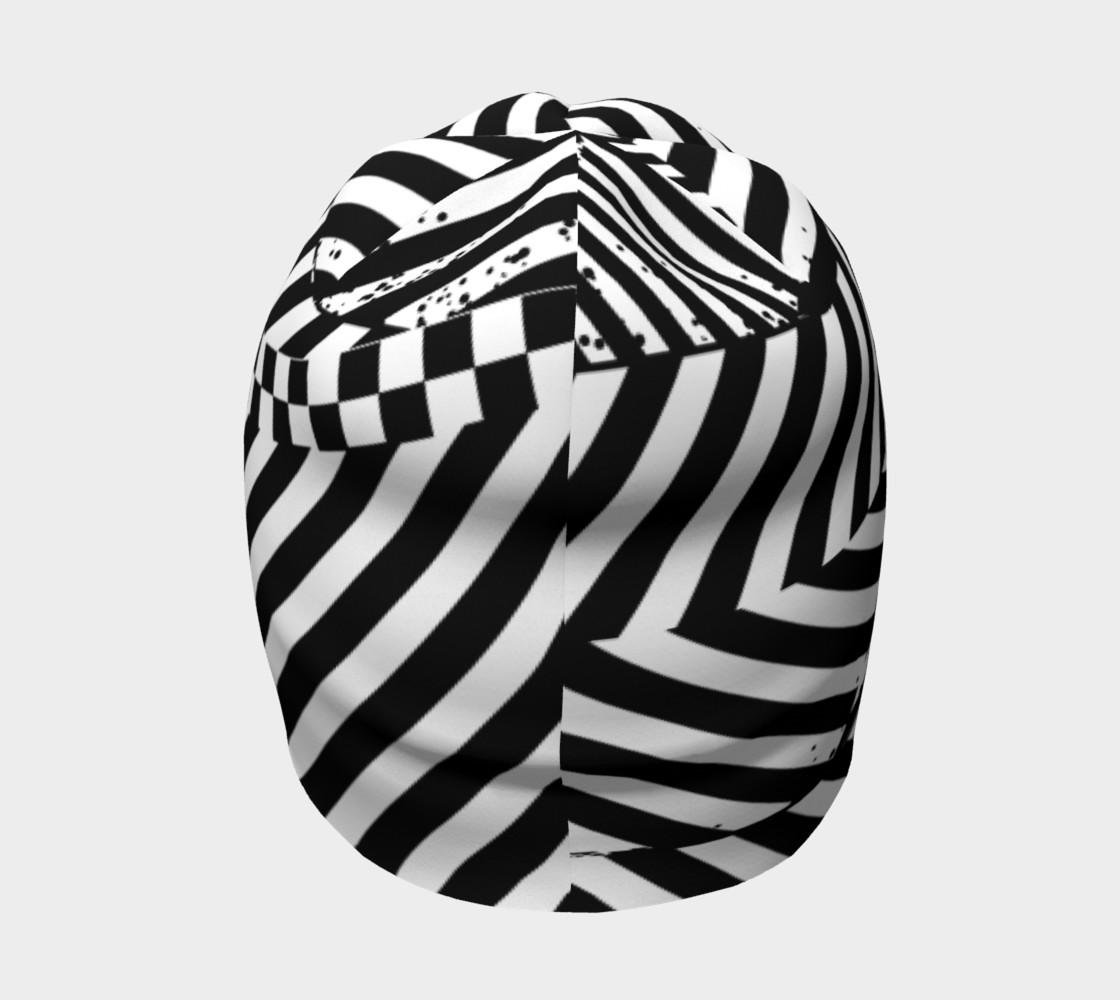 Aperçu de Black White Patchwork Stripes Checkerboard Beanie Hat #4