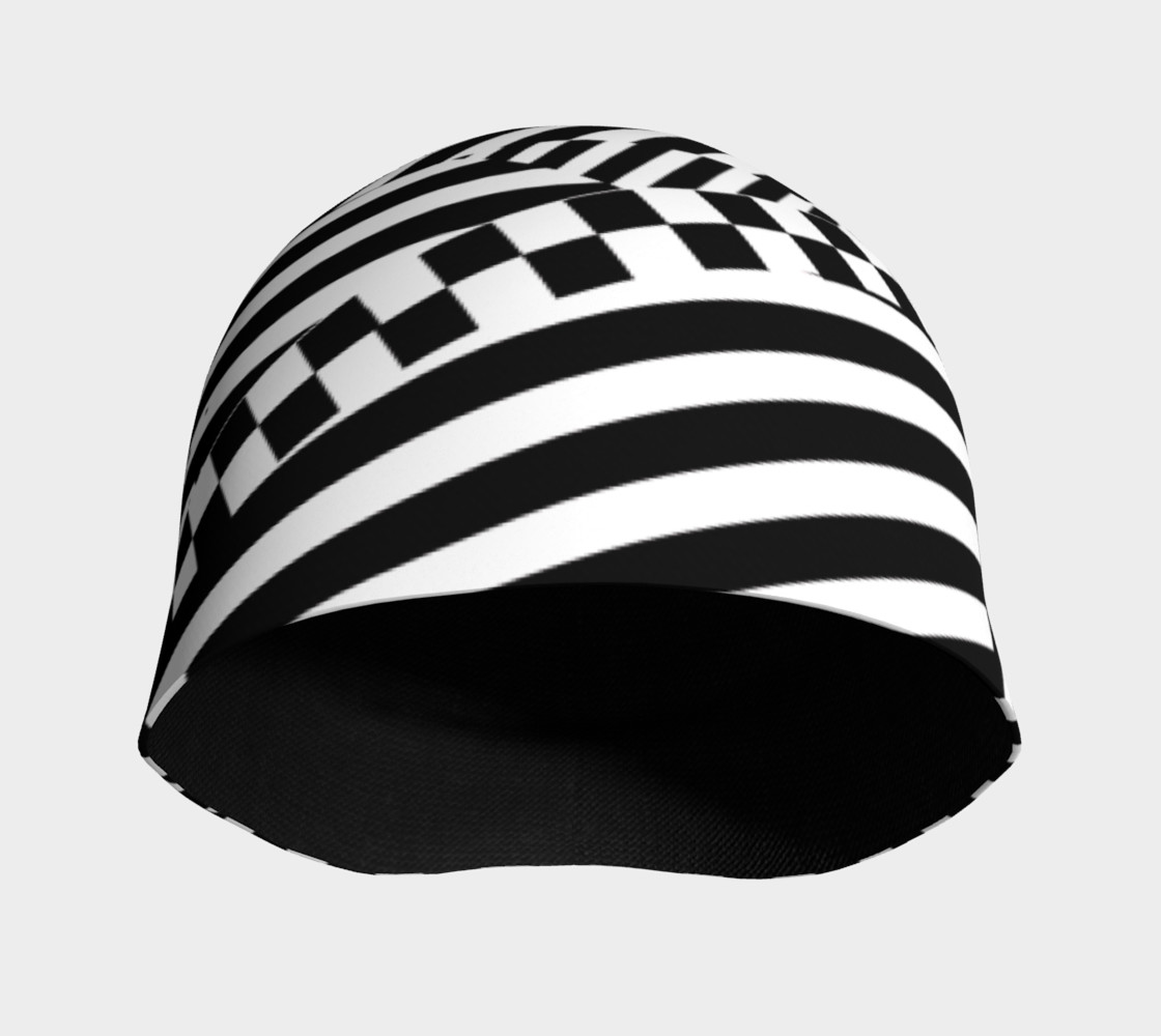 Aperçu de Black White Patchwork Stripes Checkerboard Beanie Hat #3