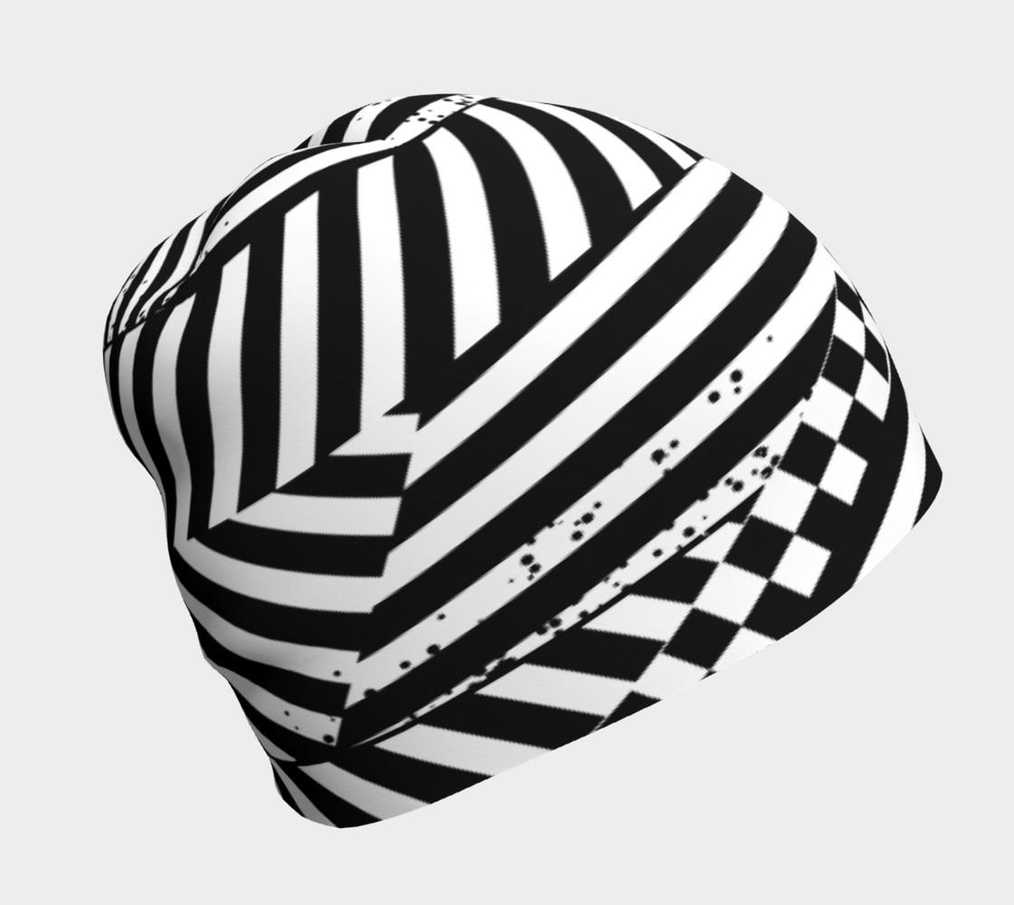 Aperçu de Black White Patchwork Stripes Checkerboard Beanie Hat #1