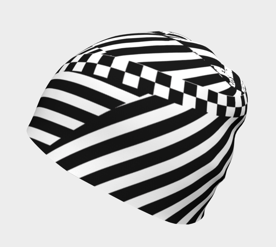 Aperçu de Black White Patchwork Stripes Checkerboard Beanie Hat #2