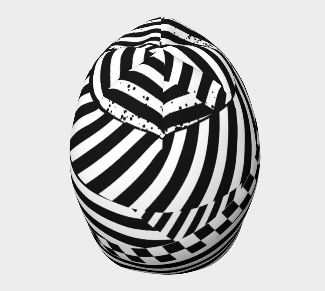 Aperçu de Black White Patchwork Stripes Checkerboard Beanie Hat #5