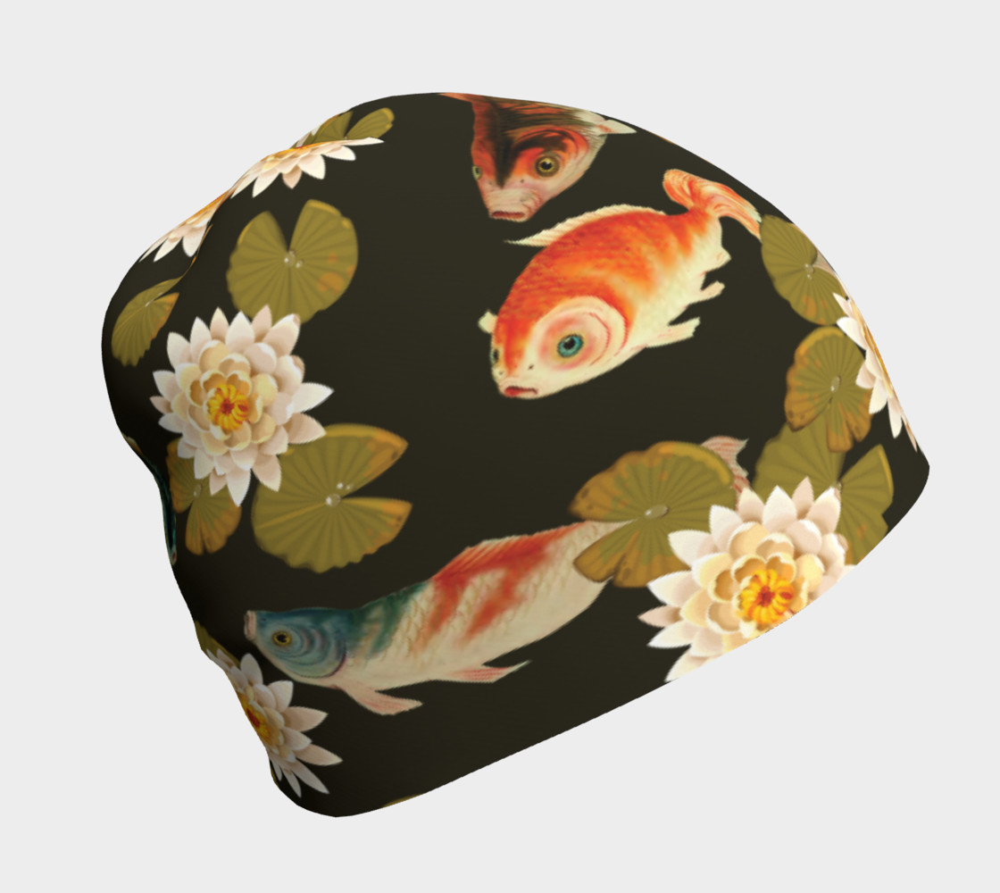 Koi & Lily Pads in Dark Water - Beanie preview #1