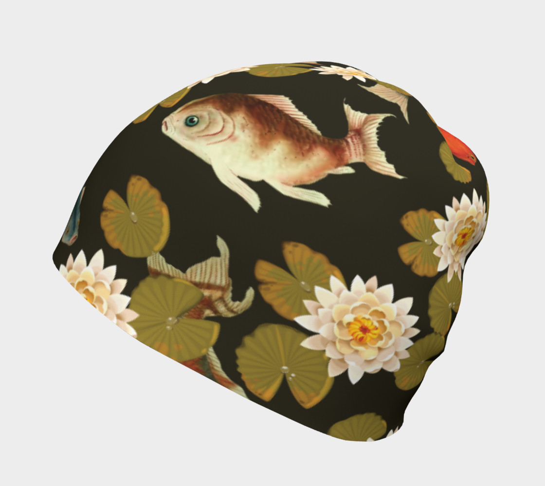 Koi & Lily Pads in Dark Water - Beanie preview #2