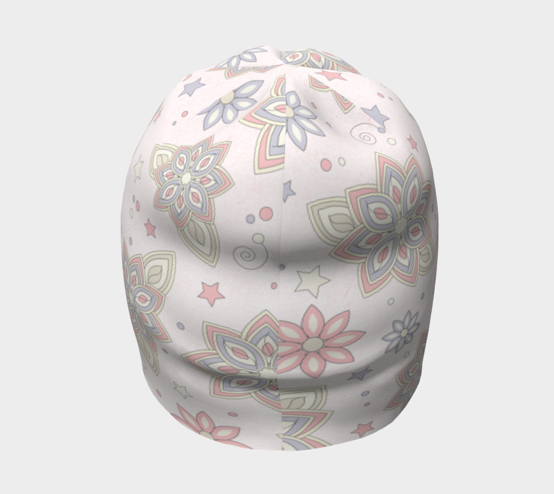 Pastel Pink Ivory Purple Abstract Flower Beanie Hat preview #4