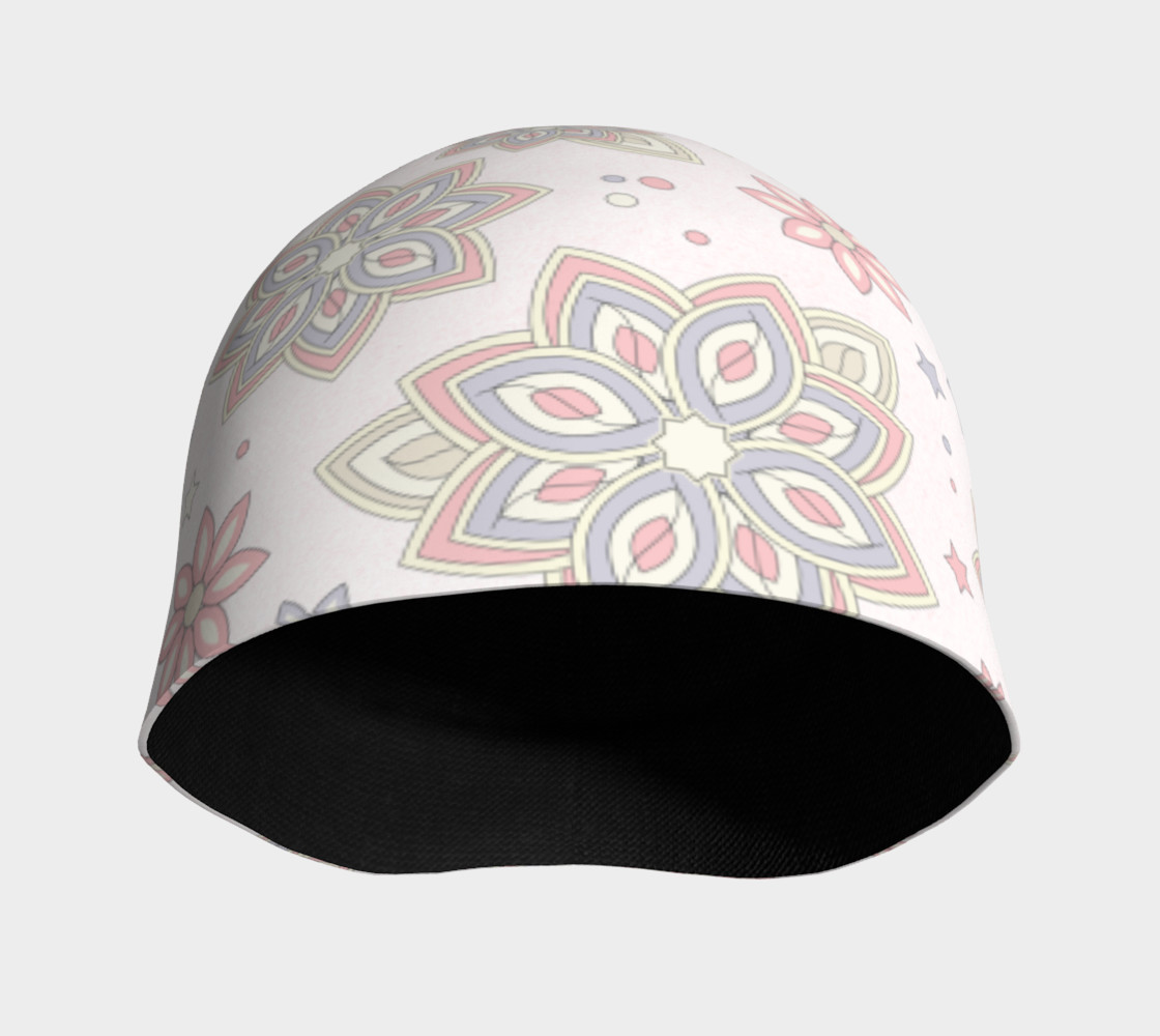 Pastel Pink Ivory Purple Abstract Flower Beanie Hat preview #3