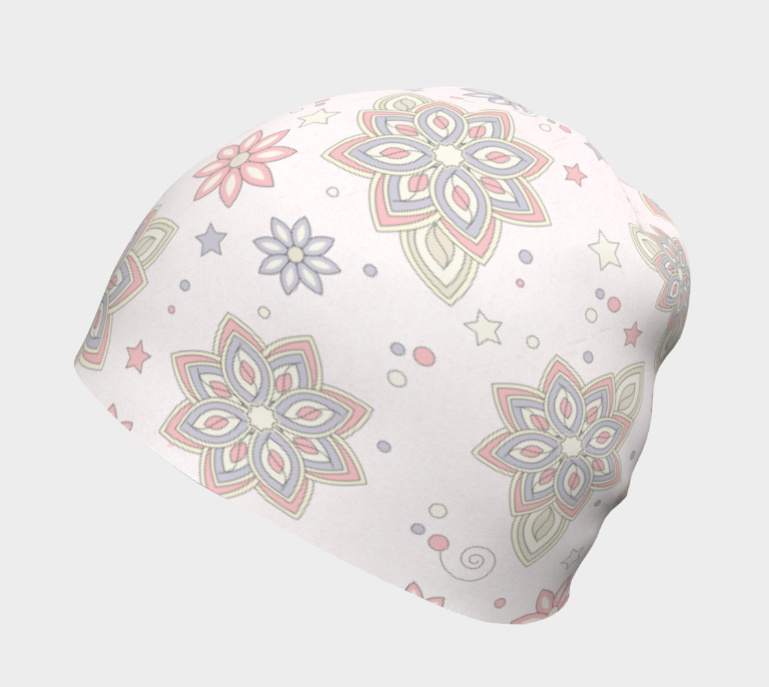 Pastel Pink Ivory Purple Abstract Flower Beanie Hat preview #2
