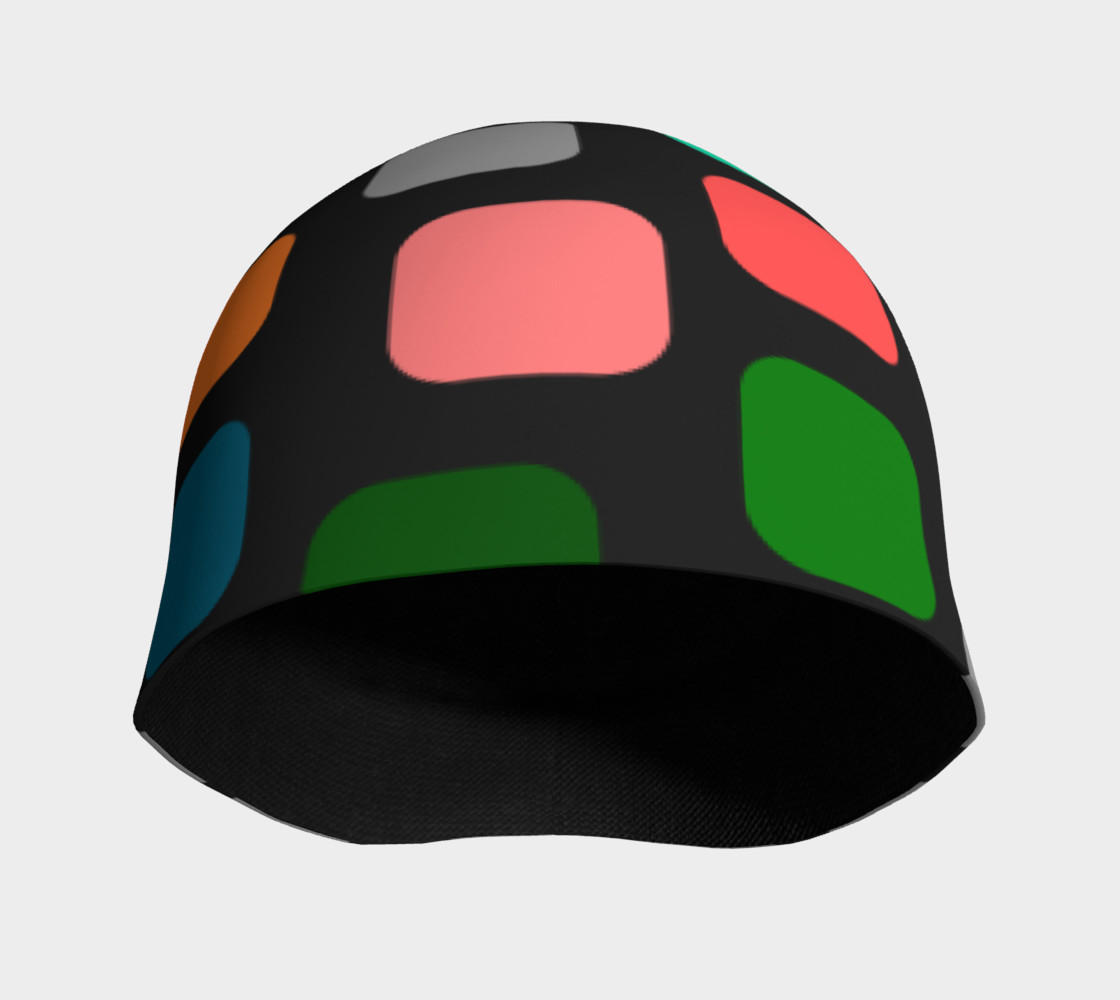 Aperçu de Ulla Print--Beanie, Multi-Color Rounded Boxes on Black Background #3