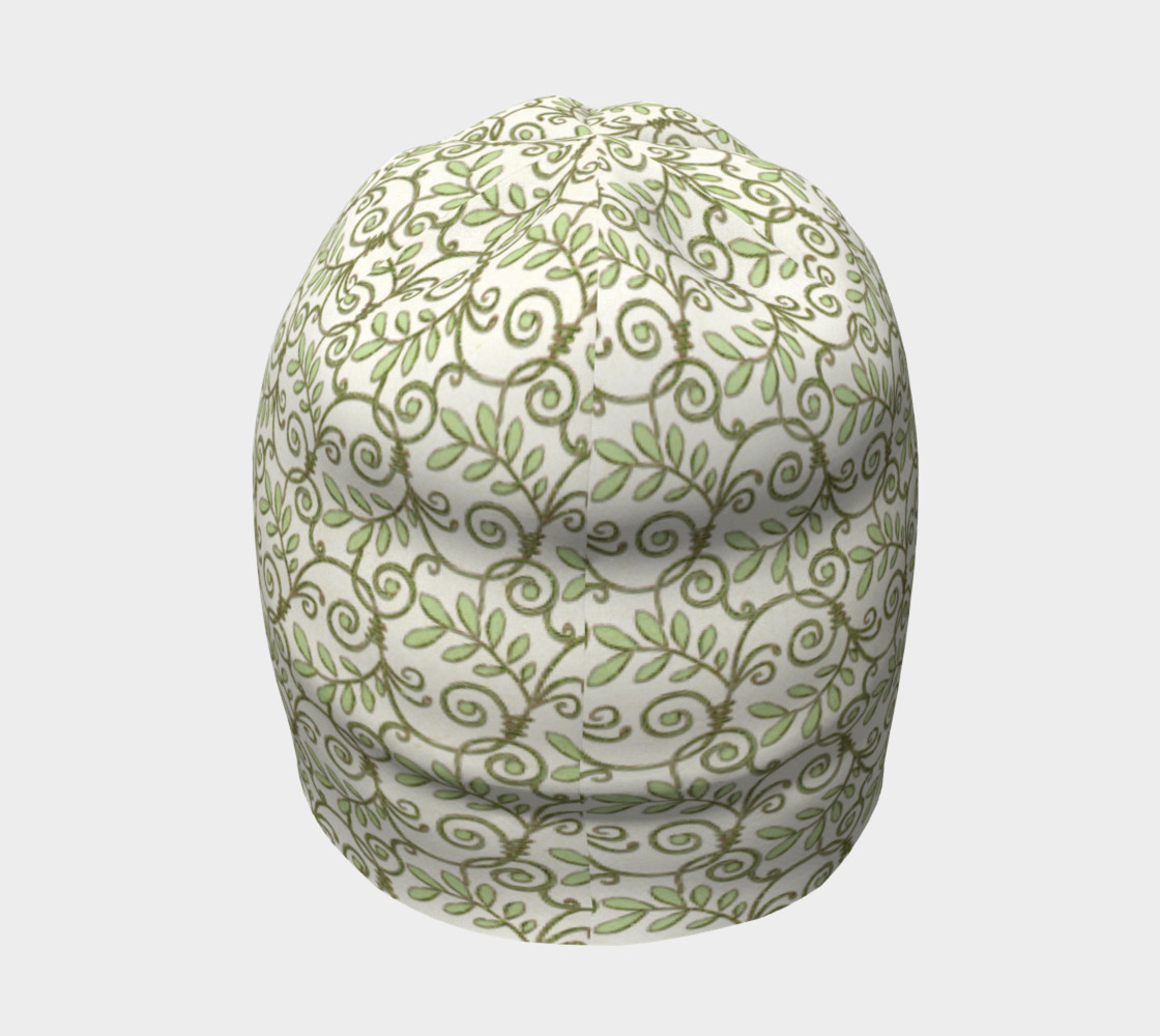 Green Cream Leafy Lace Floral Beanie Hat preview #4